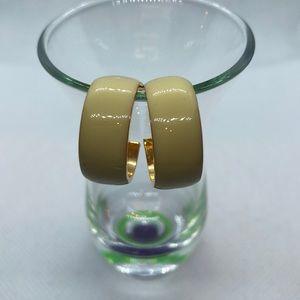 VTG Enamel/Gold tone Hoop Earrings